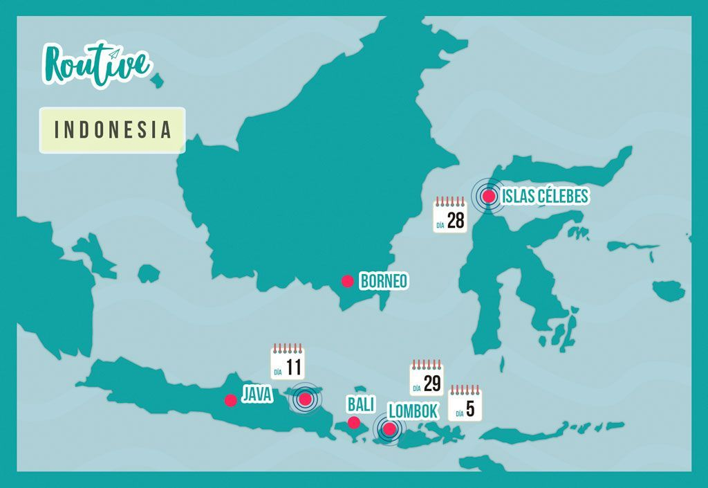 mapa indonesia routive bali lombok java celebes borneo